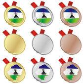 Lesotho vector flag in medal shapes — Cтоковый вектор