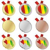 Bandiera vettoriale di guinea in forme medaglia — Vettoriale Stock