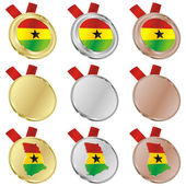 Ghana vector flag in medal shapes — Stockvektor