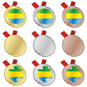 Gabon vector flag in medal shapes — Stock vektor