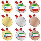Equatorial guinea vector flag in medal — Stock Vector