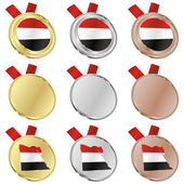 Egypt vector flag in medal shapes — Stockvektor