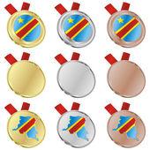 Democratic congo vector flag in medal — Stock Vector