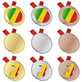Congo vector flag in medal shapes — Stock Vector