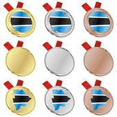 Botswana vector vlag in medaille vormen — Stockvector