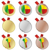Benin vector flag in medal shapes — Vettoriale Stock
