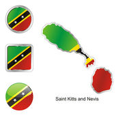 Saint kitts and nevis in map and button — Stock Vector