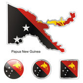 Papua new guinea in map and web buttons — Stock Vector