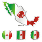 Mexico in map and web buttons shapes — Stock Vector