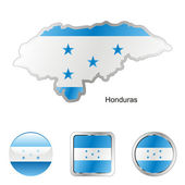Honduras in map and web buttons shapes — Stock Vector