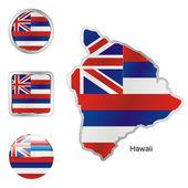 Havaj v mapě a webových tlačítek tvarů — Stock vektor