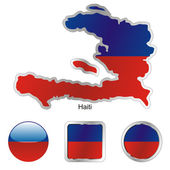 Haiti in map and web buttons shapes — Stock Vector