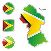 Guyana in map and web buttons shapes — Stock Vector