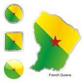French guiana in map and web buttons — Stock Vector