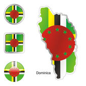 Dominica in map and web buttons shapes — Stock Vector