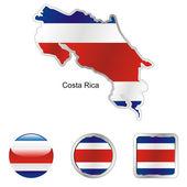 Costa rica en formes de boutons web et carte — Vecteur