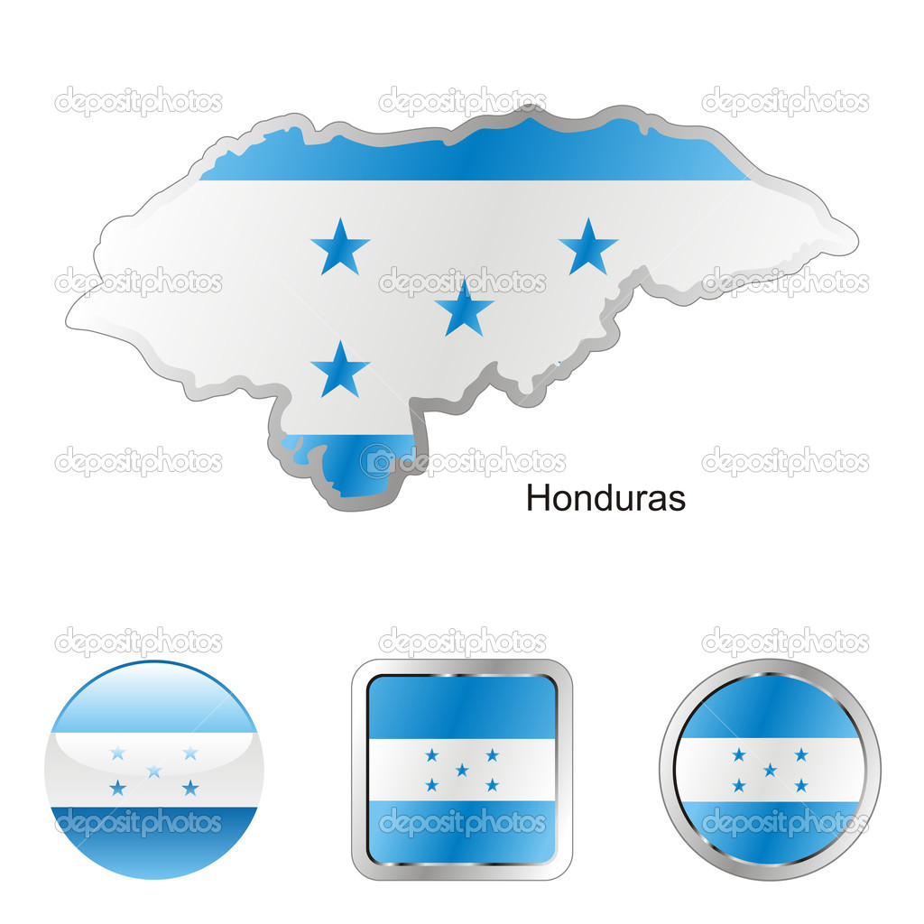 Fully editable vector flag of honduras in map and web buttons shapes   Stock Vector #2991493
