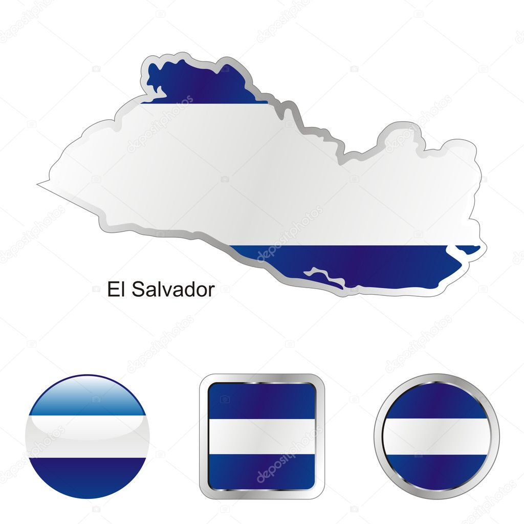 Fully editable vector flag of el salvador in map and web buttons shapes  — Stock Vector #2991514
