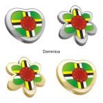 Постер, плакат: Dominica flag in heart and flower shape