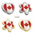 Canada flag in heart and flower shape — Stock Vector