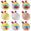 Venezuela vector flag in medal shapes — Stock Vector
