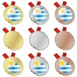Uruguay vector flag in medal shapes — Stock Vector