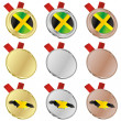 Jamaica vector flag in medal shapes — Stock Vector
