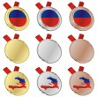 Haiti vector flag in medal shapes — Stock Vector
