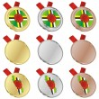 Dominica vector flag in medal shapes — Stock Vector