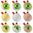 Brazil vector flag in medal shapes — Stock Vector