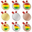 Bolivia vector flag in medal shapes — Stock Vector
