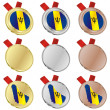 Barbados vector flag in medal shapes - ベクター素材ストック