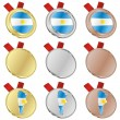 Argentina vector flag in medal shapes — Stock Vector