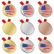 America vector flag in medal shapes — Stock Vector