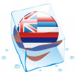 Hawaii button flag frozen in ice cube - Stock Vector