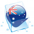 Australia button flag frozen in ice cube - Stock Vector