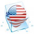 America button flag frozen in ice cube — Stock Vector
