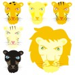 Stock Vector: Vector feline heads