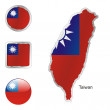 Taiwan in map and internet buttons shape — Stock Vector