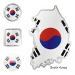 South korea in map and internet buttons — Stock Vector