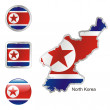 North korea in map and internet buttons — Stock Vector