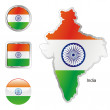 Royalty-Free Stock Vector Image: India in map and internet buttons shape
