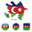 Azerbaijan in map and internet buttons s — Stock Vector