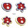 Nepal flag in heart and flower shape — Stock Vector