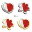 Bahrain flag in heart and flower shape - Stock Vector