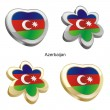 Azerbaijan flag in heart and flower shap - Stock Vector