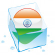 India button flag frozen in ice cube — Imagen vectorial