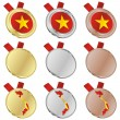 Vietnam vector flag in medal shapes — Stock Vector