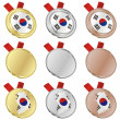 South korea vector flag in medal shapes — Grafika wektorowa
