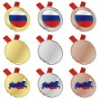 Russia vector flag in medal shapes — Stock Vector